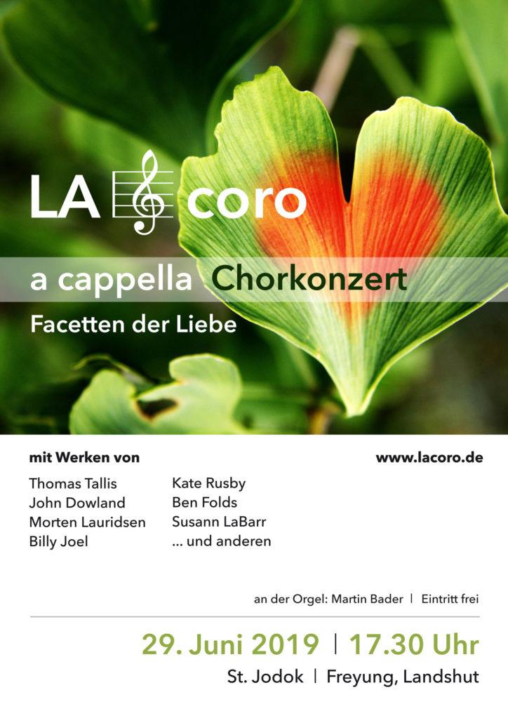 Konzertankündigung Plakat LA coro, Juni 2019